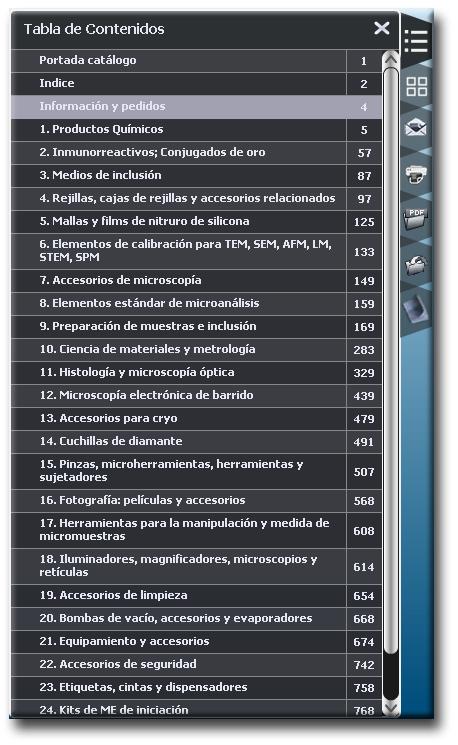 Indice catalogo de consumibles de microscopia electronica